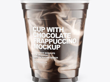 Cup With Chocolate Frappuccino Mockup