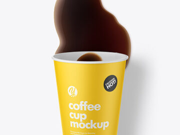 Paper Coffee Cup w/ Spilled Coffee Mockup