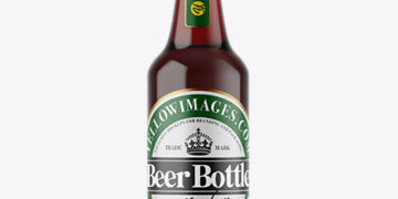 Clear Glass Bottle with Red Ale Mockup
