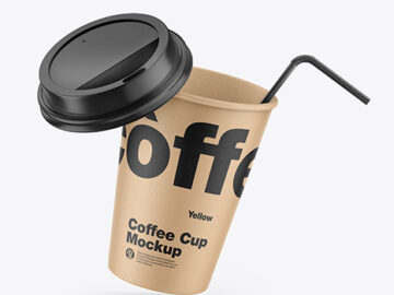 Kraft Coffee Cup w/ Straw Mockup