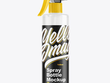 Cloudy Plastic Spray Bottle Mockup