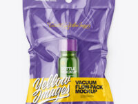 Vacuum Flow-Pack With Small Green Glass Bottle Mockup - Top View