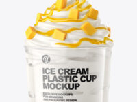 Ice Cream Plastic Cup with Mango Topping Mockup