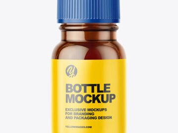 Small Amber Glass Bottle With Plastic Cap Mockup - Front View