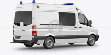 Van Ambulance Mockup - Back Half Side View