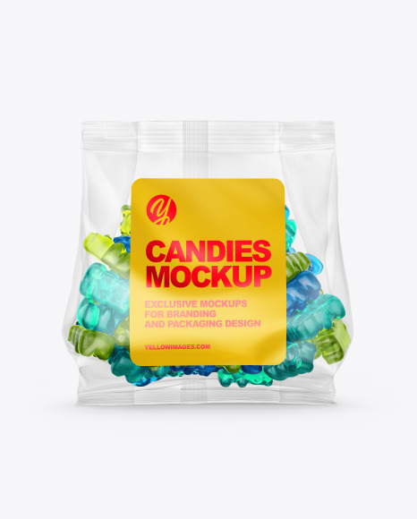 Plastic Bag with Gummies Mockup
