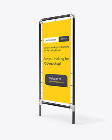 Metallic Stand w/ Fabric Banner Mockup - Right Side View