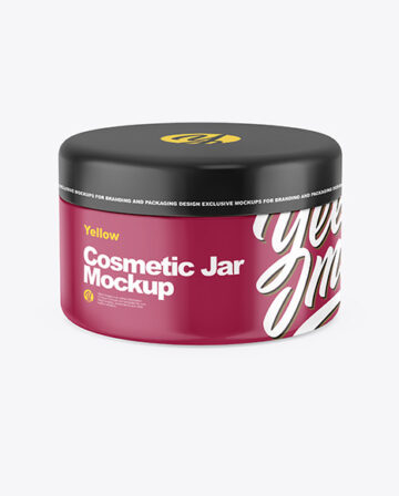 Closed Glossy Plastic Cosmetic Jar Mockup - Front View (High-Angle Shot)
