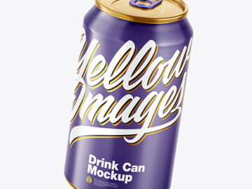 Metallic Drink Can w/ Glossy Finish Mockup