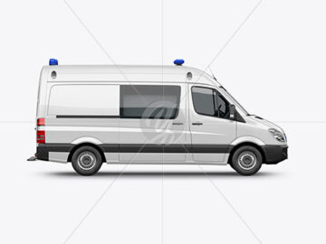Van Ambulance Mockup - Side View