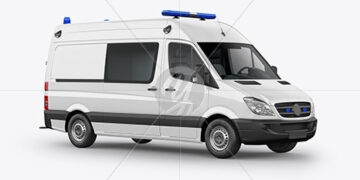 Van Ambulance Mockup - Half Side View