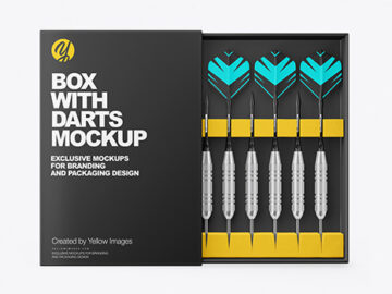 Paper Box with Matte Darts Mockup