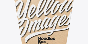 Kraft Paper Noodles Box Mockup - Front View (High Angle Shot)