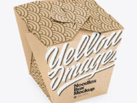 Kraft Paper Noodles Box Mockup - High Angle Shot