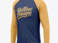 Men's Raglan Long Sleeve T-Shirt Mockup - Half Side View