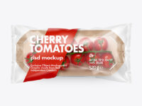 Kraft Paper Tray With Сherry Tomatoes Mockup