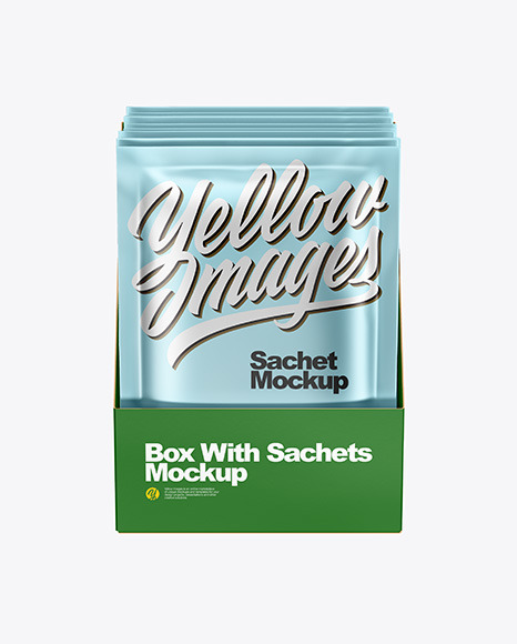 Box with Metallic Sachets Mockup