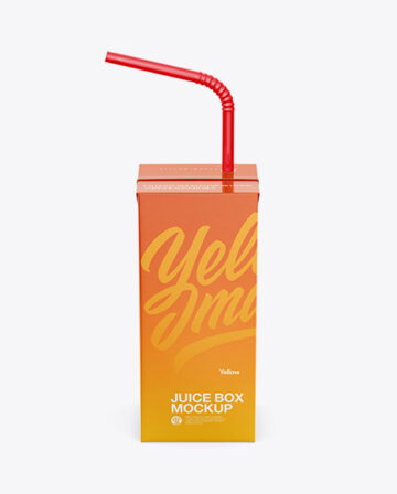 Juice Box with Straw Mockup - Front view (High Angle)