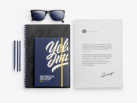 Notebook & Paper W/ Pens Mockup