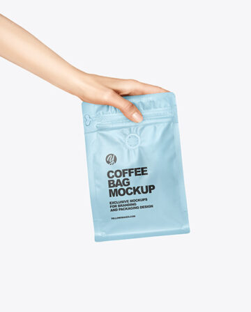 Matte Coffee Bag in a Hand Mockup