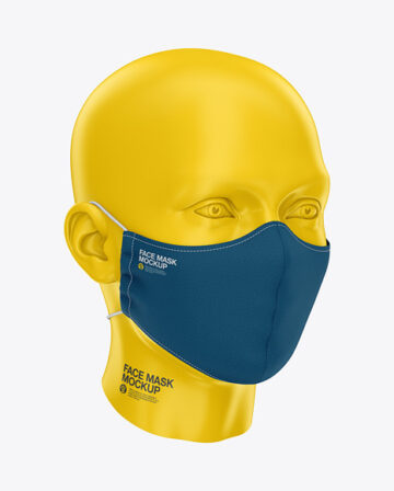 Face Mask with Elastic Cord - Front Half-Side View