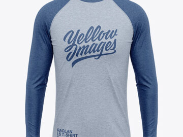 Men's Heather Raglan Long Sleeve T-Shirt Mockup - Front View