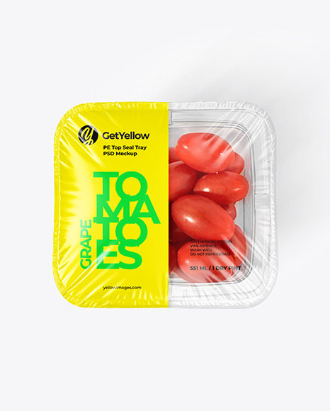 Clear Plastic Tray with Grape Tomatoes Mockup