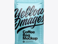 Matte Metallic Coffee Bag with Valve Mockup