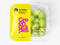 Clear Plastic Tray with Green Grapes Mockup