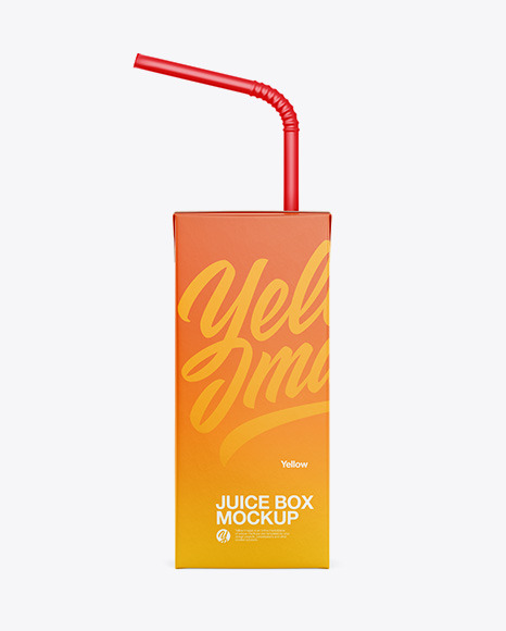 Juice Box with Straw Mockup - Front view