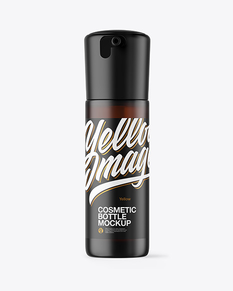 Frosted Amber Cosmetic Bottle Mockup