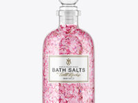 Glass Bottle with Bath Salts Mockup