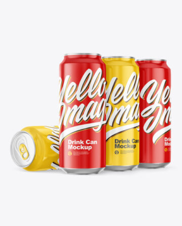 Glossy Drink Cans Mockup