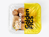 Clear Plastic Tray with Golden Figs Mockup