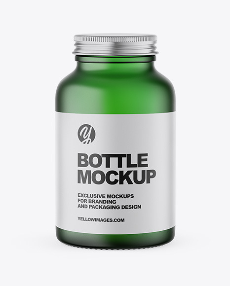 Frosted Green Bottle Mockup