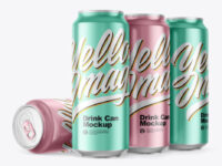 Matte Metallic Drink Cans Mockup