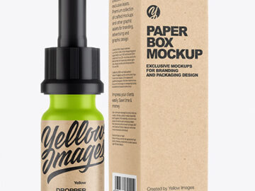 Matte Dropper Bottle with Kraft Paper Box Mockup
