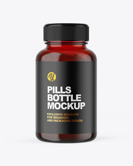 Red Pill Bottle Mockup