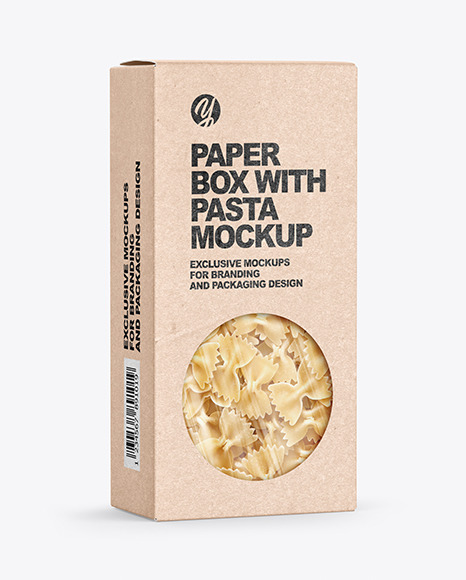 Kraft Paper Box with Farfalle Pasta Mockup