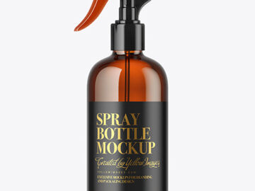 Amber Glass Spray Bottle Mockup