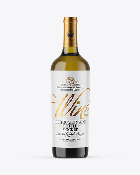Antique Green Glass White Wine Bottle Mockup