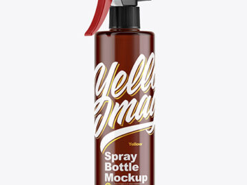 Cloudy Amber Plastic Spray Bottle Mockup