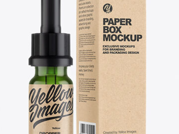 Green Glass Dropper Bottle with Kraft Paper Box Mockup