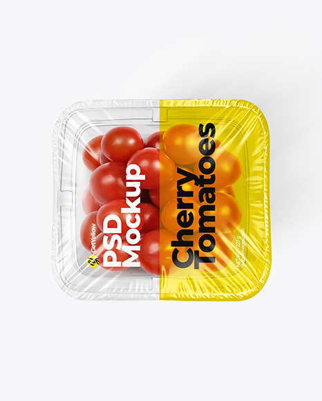 Clear Plastic Tray with Сherry Tomatoes Mockup