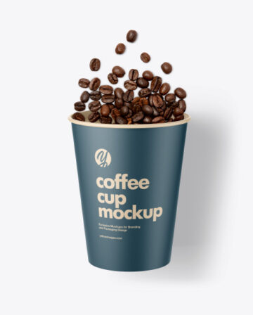 Paper Coffee Cup w/ Poured Coffee Beans Mockup