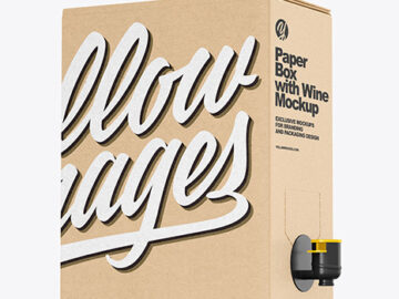 Kraft Paper Box with Wine Mockup