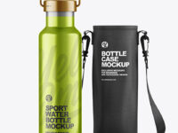 Metallic Water Bottle W/ Case Mockup