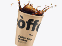 Kraft Coffee Cup w/ Splash Mockup