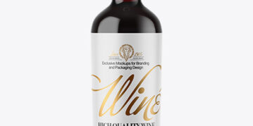 Clear Glass Red Wine Bottle Mockup