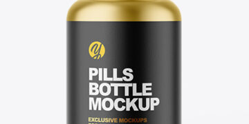 Matte Metallic Pill Bottle Mockup